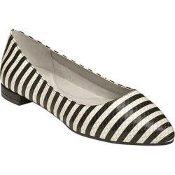 Women's Aerosoles Hey Girl Flat Black/White Striped Snake Leather
