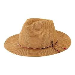 Men's San Diego Hat Company Paperbraid Fedora with Leather Cord/Beads SDH3017 Tobacco