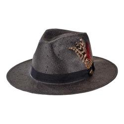Men's San Diego Hat Company Woven Paper Fedora with Feathers SDH3015 Black