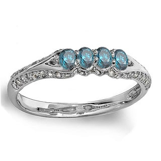 10k White Gold 1/2ct TW Round Blue and White Diamond Anniversary Stackable Band (H-I, I2-I3)