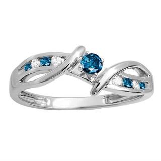 10k White Gold 1/4ct TW Round Blue and White Diamond Crossover Bridal Promise Engagement Ring (H-I, I2-I3)