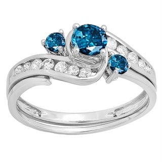 10k White Gold 7/8ct TW Round Blue and White Diamond Swirl Bridal Engagement Ring Set (H-I, I2-I3)