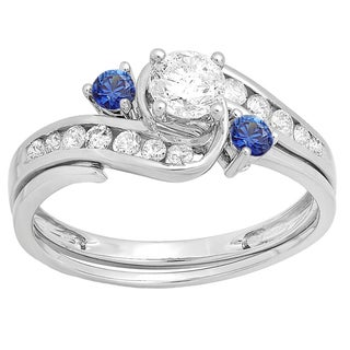14k White Gold 7/8ct TW Round Blue Sapphire and White Diamond Bridal Engagement Ring Set (H-I, I1-I2)