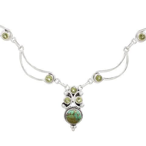 "Handmade Radiant Princess in Green Peridot Necklace (India) - 7'6"" x 9'6"""