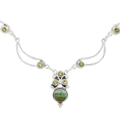 "Handmade Sterling Silver 'Radiant Princess in Green' Peridot Turquoise Necklace (India) - 7'6"" x 9'6"""