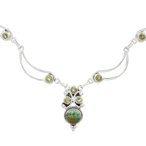 """Handmade Sterling Silver 'Radiant Princess in Green' Peridot Turquoise Necklace (India) - 7'6"""" x 9'6"""""""