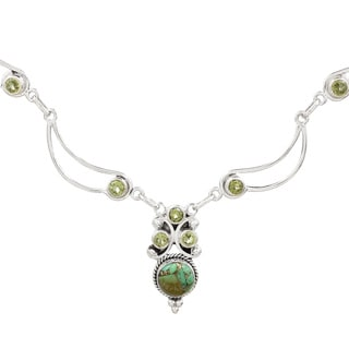 Handcrafted Sterling Silver 'Radiant Princess in Green' Peridot Turquoise Necklace (India)