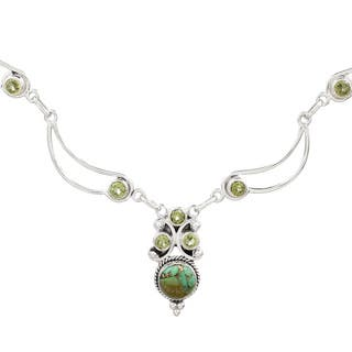 Handmade Sterling Silver 'Radiant Princess in Green' Peridot Turquoise Necklace (India)|https://ak1.ostkcdn.com/images/products/13911318/P20546150.jpg?impolicy=medium