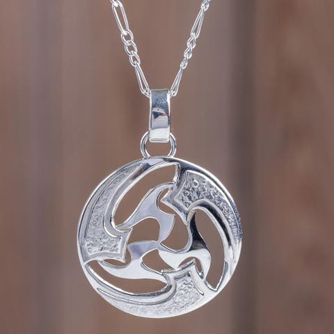 Handmade Sterling Silver 'Universe in Motion' Necklace (Peru)
