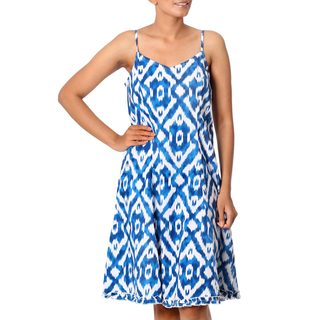 Handcrafted Cotton 'Abstract Cyan' Sundress(India)