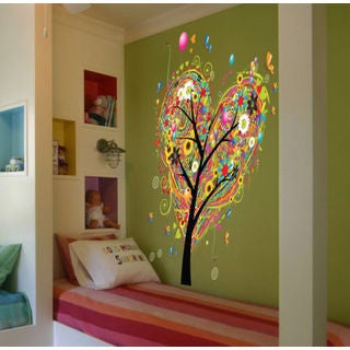 Full color Tree flowers heart sticker, Tree flowers Decal, art decal Sticker Decall size 44x60