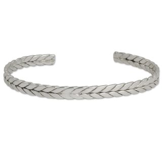 Handcrafted Sterling Silver 'Braided Junction' Bracelet (Mexico)