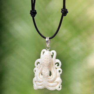 Handmade Bone Leather 'White Bali Octopus' Necklace (Indonesia)