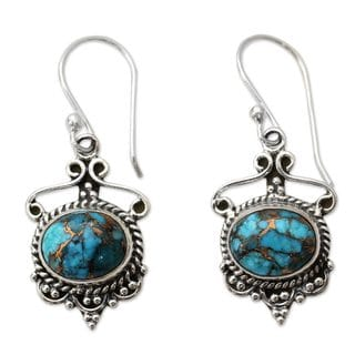 Handcrafted Sterling Silver 'Oceans of Love' Composite Turquoise Earrings (India)