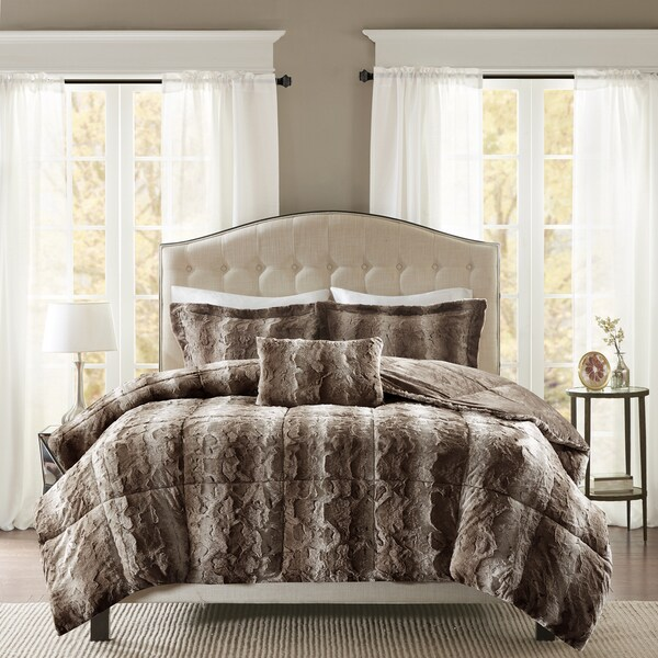 Shop Madison Park Marselle Faux Fur Comforter Set In King