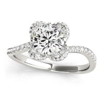 Transcendent Brilliance 14k Gold 1 1/4ct TDW Curved Band Halo Diamond Engagement Ring (G-H, VS1-VS2)