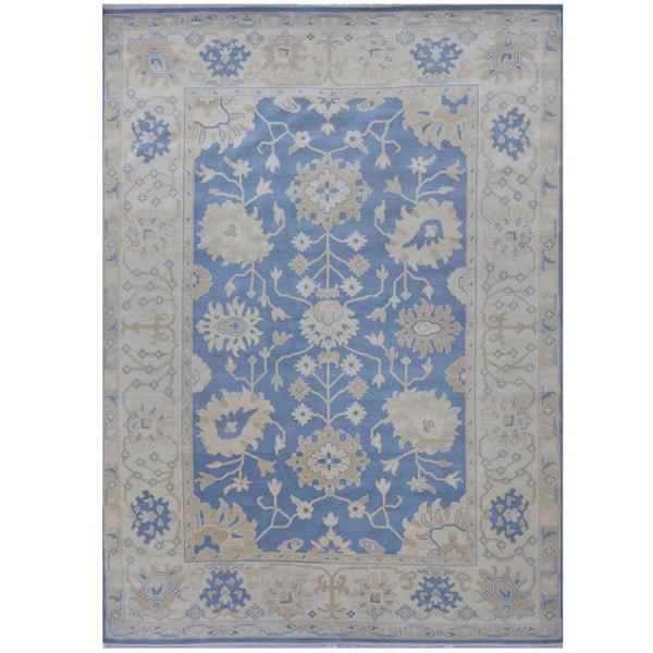 Handmade Herat Oriental Indo Tribal Oushak Wool Rug - 9'2 x 12'4 (India)