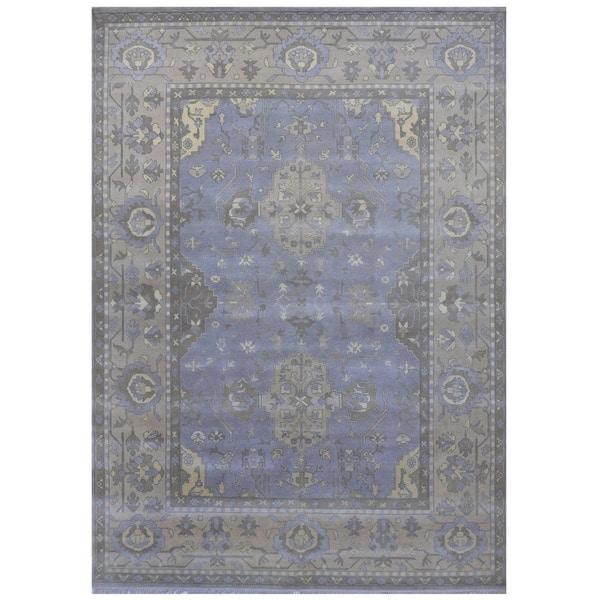 Handmade Herat Oriental Indo Tribal Oushak Wool Rug - 9'4 x 12'4 (India)