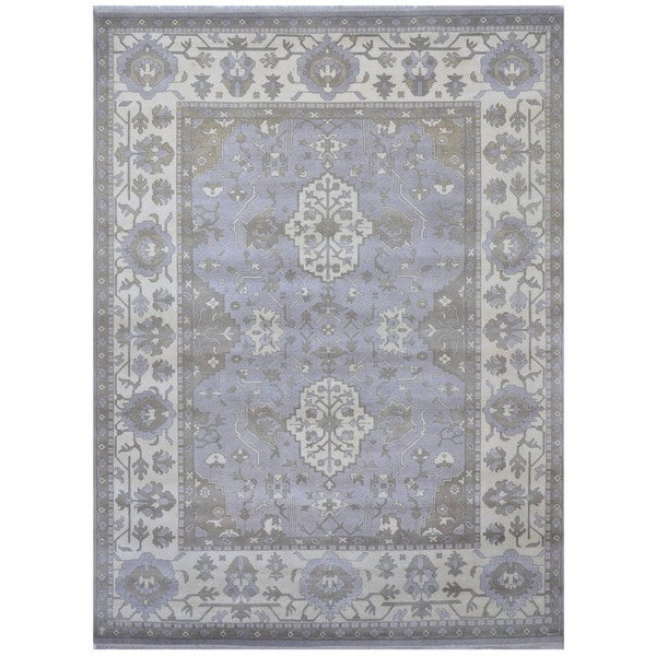 Herat Oriental Indo Hand-knotted Tribal Oushak Wool Rug (9'4 x 12'3)