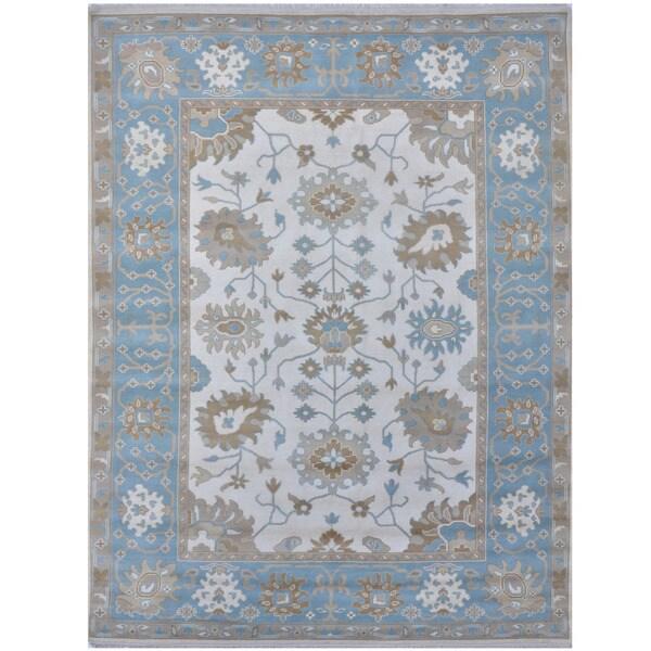 Handmade Herat Oriental Indo Tribal Oushak Wool Rug - 9'1 x 11'7 (India)