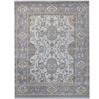 Herat Oriental Indo Hand-knotted Tribal Oushak Wool Rug (9'4 x 11'8)