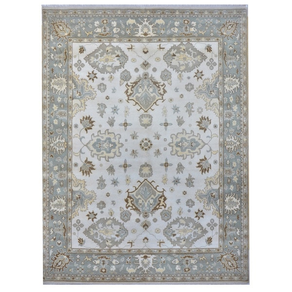 Herat Oriental Indo Hand-knotted Tribal Oushak Wool Rug - 9'3 x 11'11