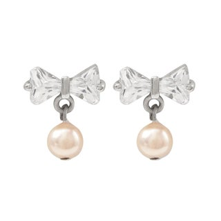 Luxiro Sterling Silver Cubic Zirconia and Faux Pink Pearl Bow Earrings