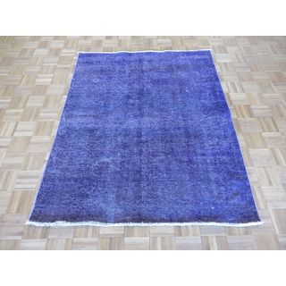 Hand Knotted Purple Tabriz with Wool Oriental Rug (4 x 6'2)