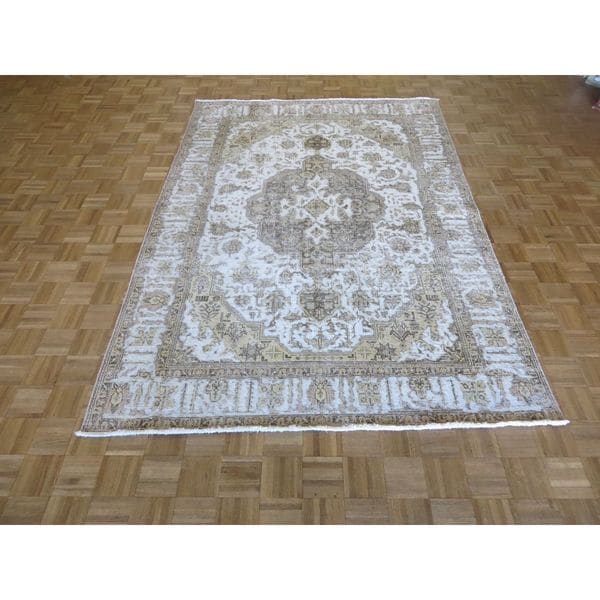 Shop Beige Wool Hand Knotted Oriental Persian Area Rug 6: Shop Hand Knotted Beige Tabriz With Wool Oriental Rug