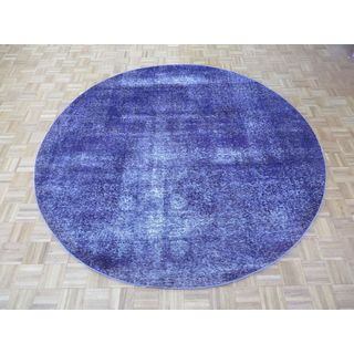 Hand Knotted Purple Tabriz with Wool Oriental Rug (8 x 8)