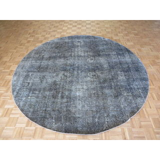Hand Knotted Gray Tabriz with Wool Oriental Rug (9'2 x 9'2)