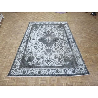 Hand Knotted Silver Tabriz with Wool Oriental Rug (7'11 x 11'4)