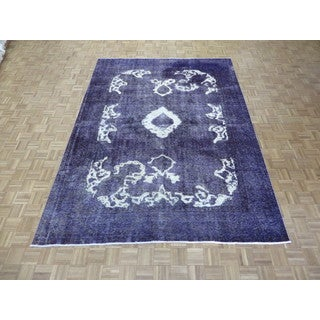 Hand Knotted Purple Tabriz with Wool Oriental Rug (8 x 10'9)