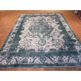 Hand Knotted Silver Tabriz with Wool Oriental Rug (9'9 x 12'4)