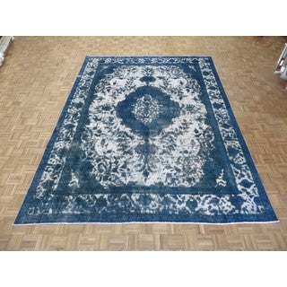 Hand Knotted Silver Tabriz with Wool Oriental Rug (9'5 x 12'4)