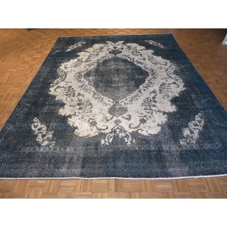 Hand Knotted Silver Gray Tabriz with Wool Oriental Rug (9'6 x 12'2)