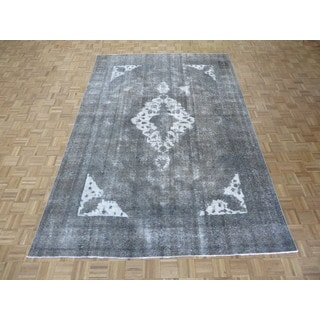 Hand Knotted Gray Tabriz with Wool Oriental Rug