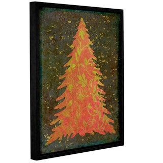 Cora Niele's ' Vintage Xmas Tree 07' Gallery Wrapped Floater-framed Canvas