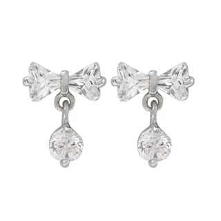 Luxiro Sterling Silver Cubic Zirconia Bow Children's Earrings