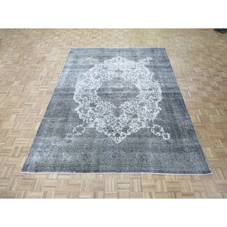 Hand Knotted Silver Tabriz with Wool Oriental Rug (7'11 x 10'7)