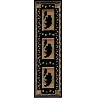 Outdoorsman Collection Rustic Lodge Bear Take the Lead Black Polypropylene Area Rug (2'3 x 7'7)