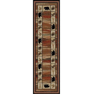 Rustic Lodge Bear Border Red/Black Polypropylene Cabin Area Rug (2'3 x 7'7)