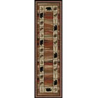 Rustic Lodge Bear Border Red/Black Polypropylene Cabin Area Rug - multi
