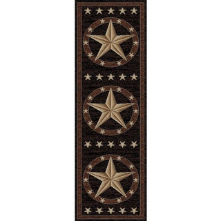 Rustic Lodge Western Texas Star Cabin Black/Multicolored Polypropylene Area Rug (2'3 x 7'7)