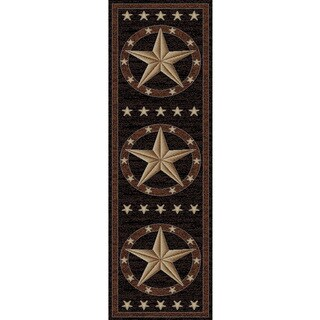 Rustic Lodge Western Texas Star Cabin Black/Multicolored Polypropylene Area Rug (2'3 x 7'7) - 2'3 x 7'7