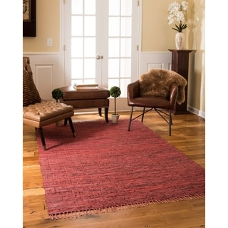 Natural Area Rugs Hand Woven Limassol Leather Rug, Red, (6' x 9') with Bonus Rug Pad