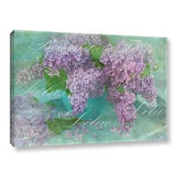 Cora Niele's ' Lilacs Bouquet Text' Gallery Wrapped Canvas - Purple