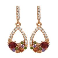 Luxiro Rose Gold Finish Sterling Silver Multi-color Cubic Zirconia Teardrop Earrings