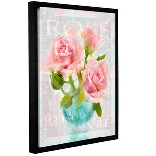 Cora Niele's ' Joie Vivre Rose' Gallery Wrapped Floater-framed Canvas