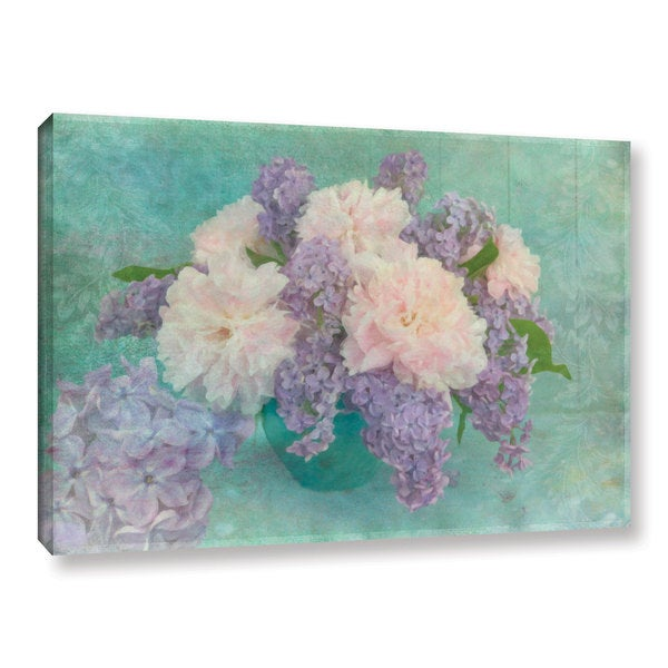 Cora Niele's ' Flower Bouquet 1' Gallery Wrapped Canvas - Blue